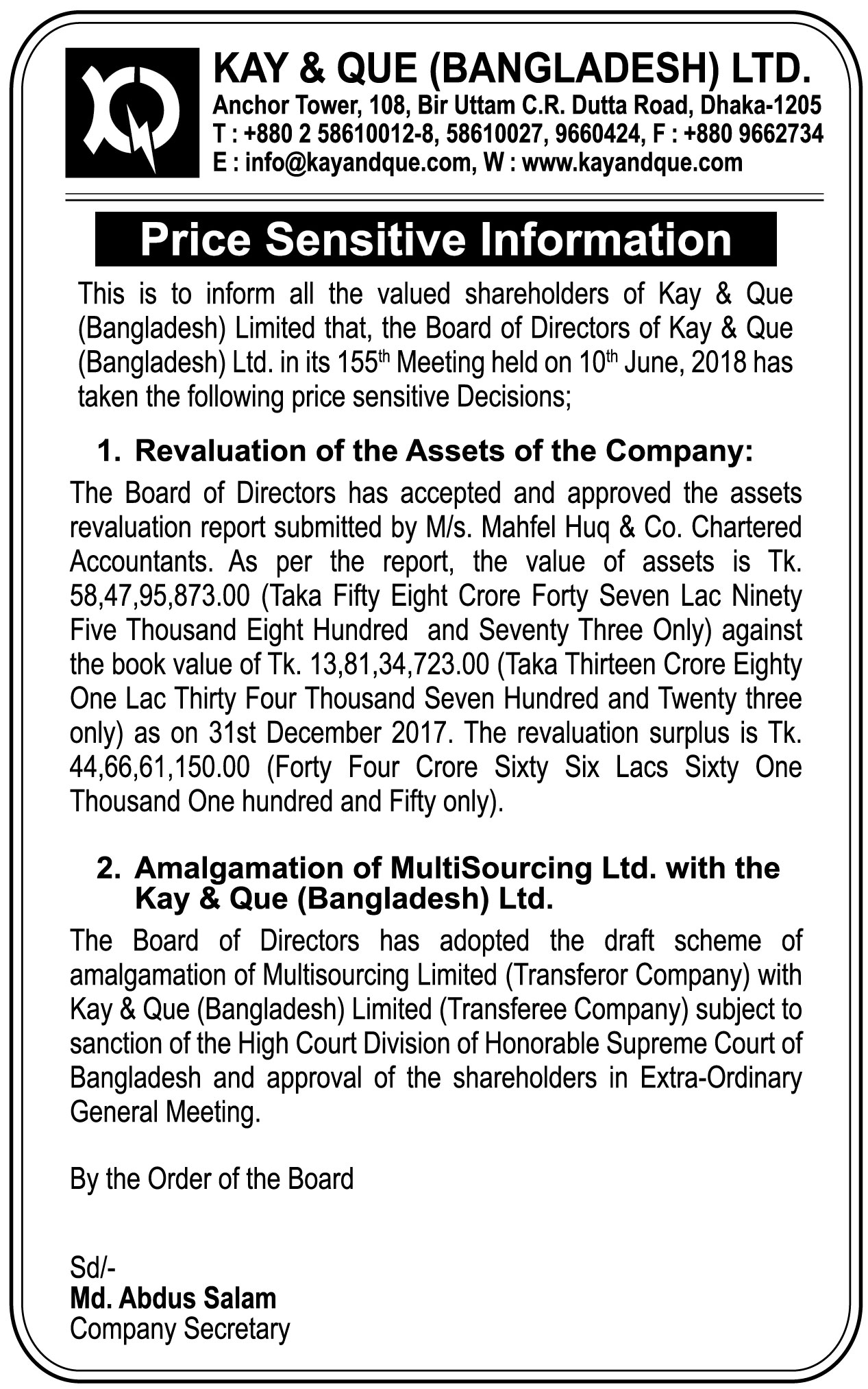 field: Kay & Que - Latest BD News - Corporate Sangbad | Online ...